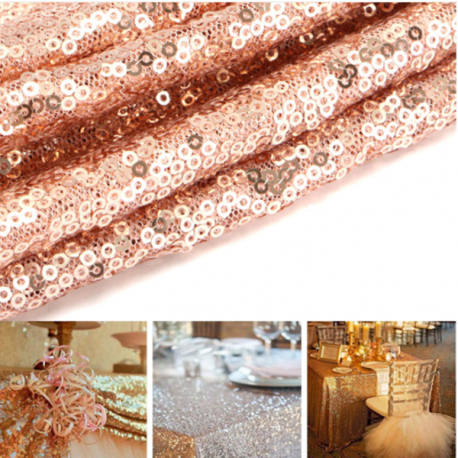 rose gold sequins table runner