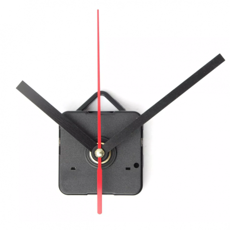 black and red hands clock mechanism