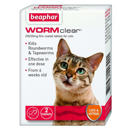 Beaphar WORMclear Worming Tablets for Cats And Kittens, Kills Roundworm And Tapeworms